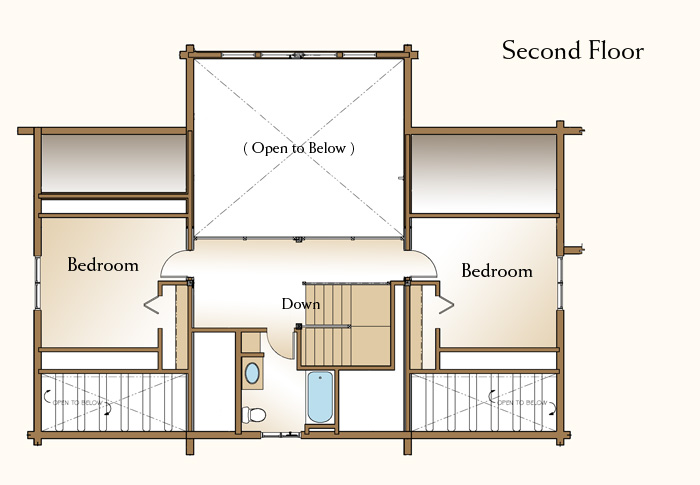 The cheyenne log home floor plan 3 bedroom log home plan for Real log homes floor plans