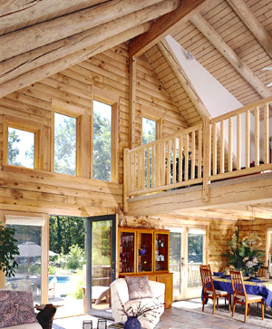 eastern white pine log home great room