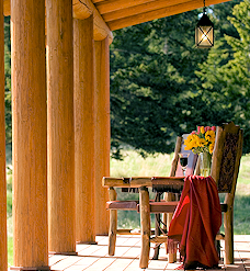 Full Round Log Home Porch Post
