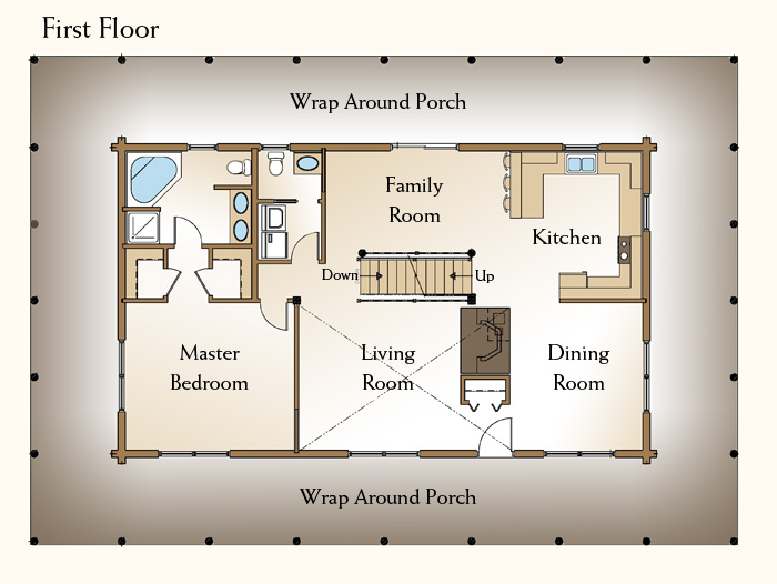 The Ashley, Log Home Floor Plans NH, Custom Log Homes | Gooch Real ...