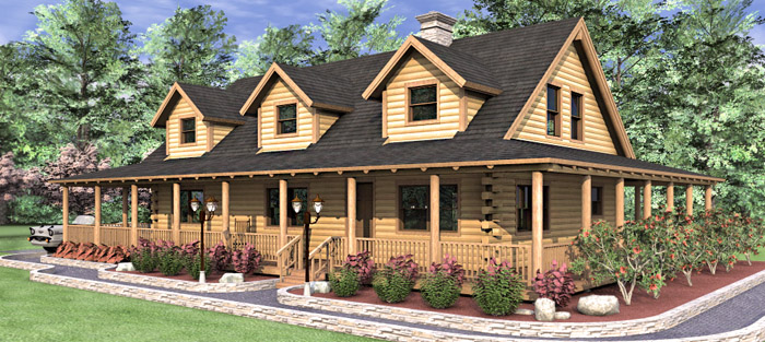 The ashley log home floor plans nh custom log homes for Unique log home floor plans