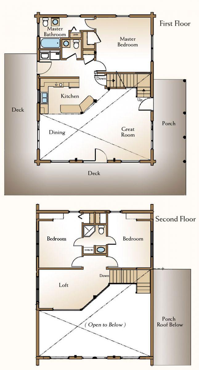 The Augusta Log Home Floor Plans Nh Custom Log Homes
