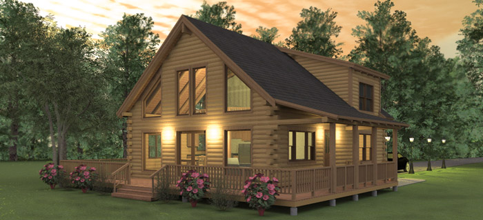 The augusta log home floor plans nh custom log homes for Lodge plans with 8 bedrooms