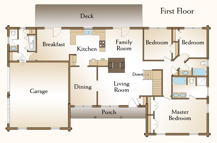 The brewster log home floor plans nh custom log homes for Free log bed plans
