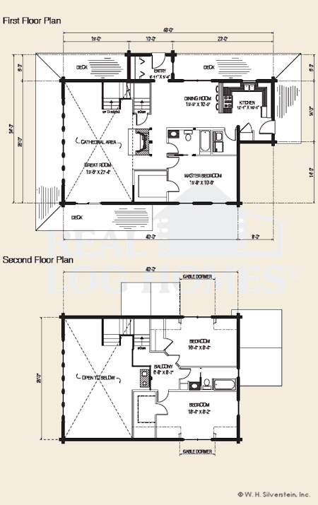 The Cascade, Log Home Floor Plans NH, Custom Log Homes | Gooch Real ...
