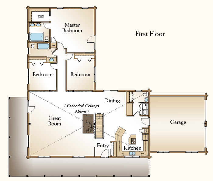 The cheyenne log home floor plans nh custom log homes for One bedroom log cabin plans