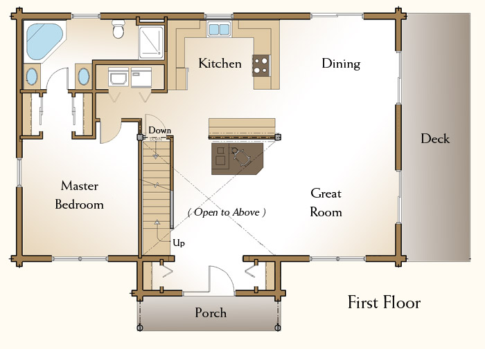 The Claremont Log Home Floor Plans Nh Custom Log Homes