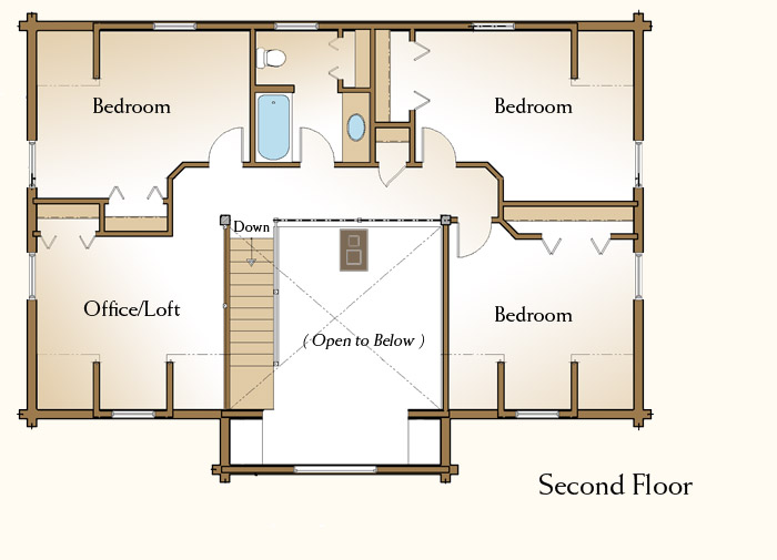 The claremont log home floor plans nh custom log homes for 2 bedroom log cabin floor plans