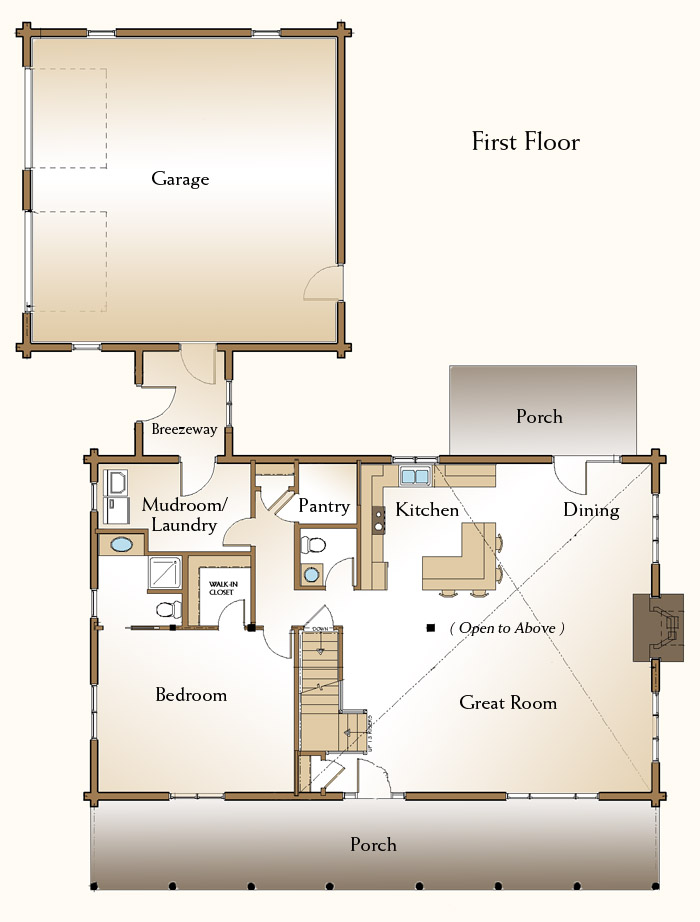 The Covington Log Home Floor Plans Nh Custom Log Homes