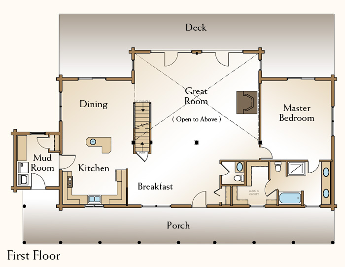 The grand isle log home floor plans nh custom log homes for Real log homes floor plans