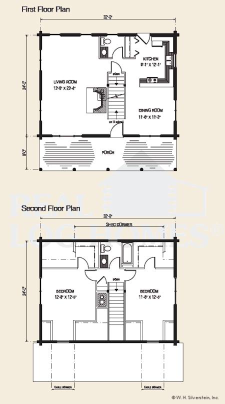The mansfield log home floor plans nh custom log homes for Real log homes floor plans