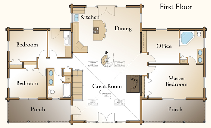 The richmond log home floor plans nh custom log homes for Log cabin floor plans with 2 bedrooms and loft