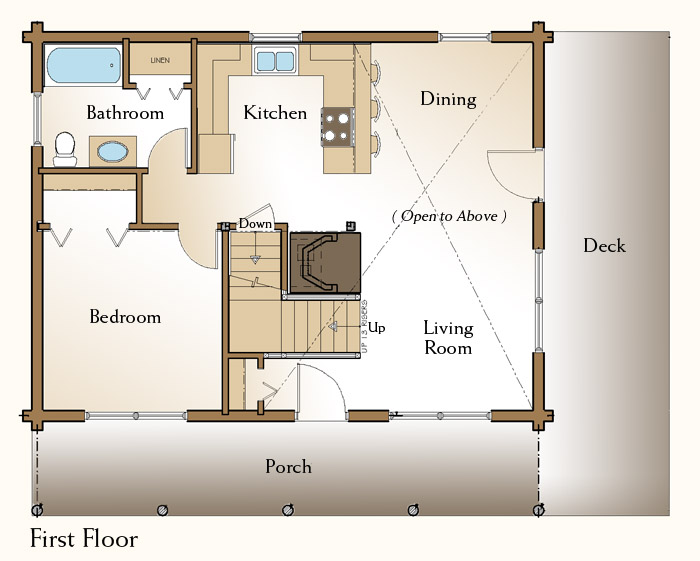 The rockville log home floor plans nh custom log homes for One bedroom log cabin plans