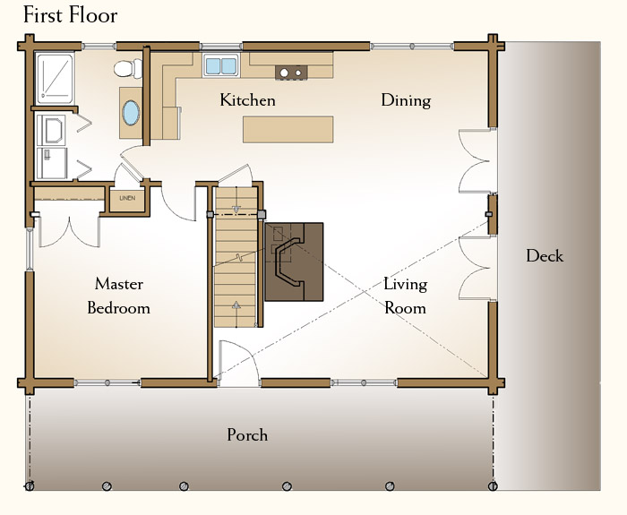 2 bedroom log home floor plans for Lodge plans with 8 bedrooms