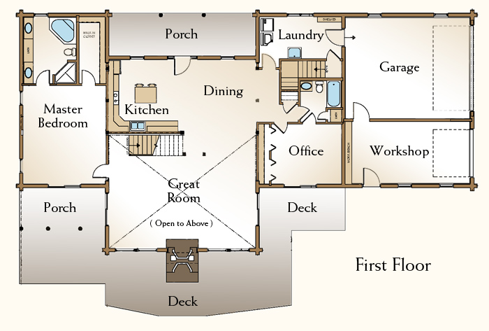 The Stonington Log Home Floor Plans Nh Custom Log Homes Gooch Real Log Homes