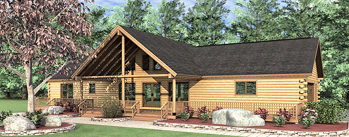 The woodland log home floor plans nh custom log homes for 3 bedroom log cabin kits