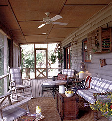 Conventional Porch Roof With Log Walls