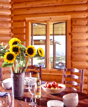 Western Cedar Log Home Dining Room